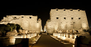 Karnak temple in Luxor at night Royalty Free Stock Photos