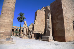 The Karnak temple. Open court of the Karank temple behind the first pylon Stock Image