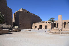 The Karnak temple. Open court of the Karank temple behind the first pylon Royalty Free Stock Image