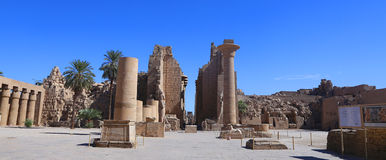 The Karnak temple. Open court of the Karank temple behind the first pylon Stock Photos