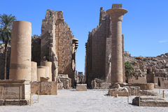 The Karnak temple. Open court of the Karank temple behind the first pylon Stock Images
