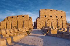 Karnak Temple sphinxes alley, The ruins royalty free stock photography