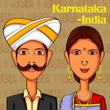 Karnatakani par i traditionell dräkt av Karnataka, Indien vektor illustrationer