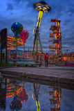 Karnawałów światła na nabrzeżu przy nocą Fotografia Royalty Free