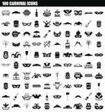100 karnawałów ikony set, prosty styl royalty ilustracja