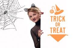 karnawał kostiumowy Venice Kobieta z karnawałowymi kotów ucho Zdjęcia Stock