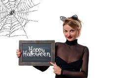 karnawał kostiumowy Venice Kobieta z karnawałowymi kotów ucho trzyma chalkboard Obrazy Royalty Free