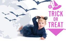 karnawał kostiumowy Venice Mała dziewczynka w kostiumowym kocie Zdjęcie Royalty Free