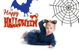 karnawał kostiumowy Venice Mała dziewczynka w kostiumowym kocie dla Halloween Obraz Royalty Free