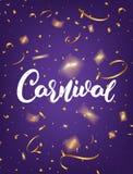 Karnawał Ostatki plakatowi z Karnawałowym literowaniem i złocistymi błyszczącymi confetti Gruby Wtorku wakacje tło Zdjęcie Stock