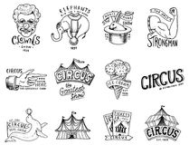 Karnawałowa Cyrkowa odznaka Arlekin z zwierzętami błazen i słoń, lody, magiczna ostrość w namiocie funnyman funster royalty ilustracja