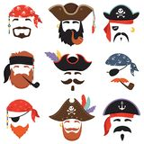 Karnawałowa pirat maska Śmieszny morze nielegalnie kopiować kapelusze, podróży bandany z dreadlocks włosy i dym drymba odizolowyw royalty ilustracja
