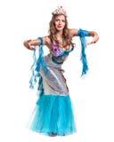 Karnawałowa tancerz dziewczyna ubierał jako syrenki pozować, odizolowywam na bielu Fotografia Stock