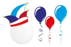 Karnawałowa tradycyjna nakrętka i balony odizolowywający na białym tle royalty ilustracja