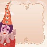 Karnawałowy błazen z ramą Obraz Royalty Free