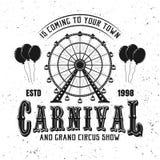 Karnawałowy funfair i ferris koła czerni emblemat ilustracja wektor