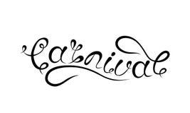 Karnawałowy literowanie projekt, Kaligraficzna typografia, tekst Odizolowywający Fotografia Stock
