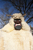 Karnawałowy masker w futerku przy 'Busojaras' karnawał zima pogrzeb Zdjęcie Stock