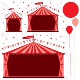 Karnawałowy namiotowy cyrkowy czerwień set ilustracja wektor