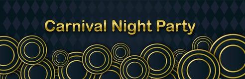 Karnawałowy nocy przyjęcia sztandar z złocistym literowaniem Maskarad maski na czarnym tle Ostatki zaproszenia karta ilustracji