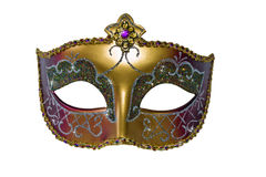 Karnawału maskowy złocisty kolor z gwiazdami. Odosobniony Zdjęcia Royalty Free