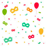 Karnawałowy wybuch z confetti i maskami Fotografia Royalty Free