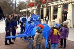 Karnawału samolot i dzieciaki Fotografia Royalty Free