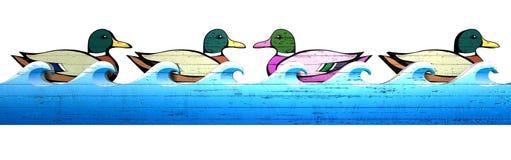 Karnawałowej Kaczki Mknąca Aleja Przeciw Przepływowi Fotografia Royalty Free