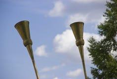 Karnay黄铜乐器在中亚 图库摄影