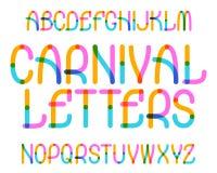 Karneval beschriftet Schriftbild Bunter Schrifttyp Lokalisiertes englisches Alphabet stock abbildung