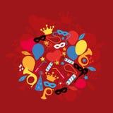 Karneval, Festival, Partei, Geburtstags-Dekoration, Vektor Stockbild