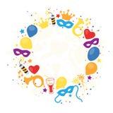 Karneval, Festival, Partei, Geburtstags-Dekoration, Vektor Lizenzfreie Stockfotos