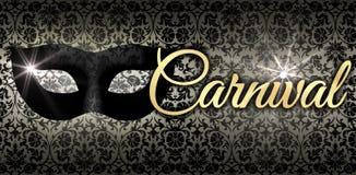 Karneval i guld, med den svarta maskeringen Fotografering för Bildbyråer