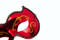 karneval isolerad maskering över röd white Arkivfoton