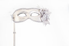 karneval isolerad maskeringswhite Arkivbilder