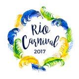 Karneval märka design med fjäderramen Royaltyfri Foto