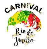karneval rio märka design med handattraktionfjädern Royaltyfri Bild