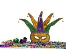 Karneval-Schablone und Korne Stockfotografie