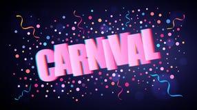 Karneval som överlappar festlig bokstäver med färgrika runda konfettier vektor illustrationer