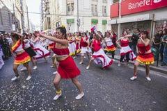 Karneval während des Protestes, Valparaiso Stockbild