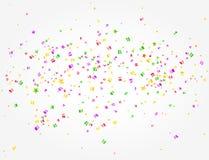 Karnevalbakgrund med många konfettier i mitt royaltyfri illustrationer