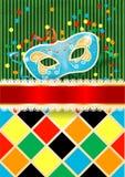 Karnevalbakgrund med maskeringen och copyspace Royaltyfri Bild