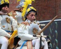 Karnevalbarn Aalst, Belgien Arkivbilder