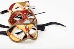 Karnevalet maskerar isolerat på vitbakgrund Fotografering för Bildbyråer