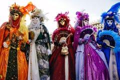 karnevalet maskerar venice Royaltyfri Foto