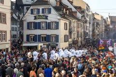 Karnevalet ståtar i Baseln, Schweiz Arkivfoto