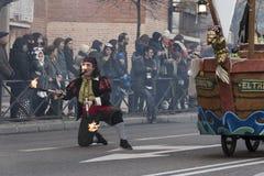 Karnevalet ståtar Madrid Februari 9, 2018 spain arkivbilder