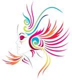 Karnevalflicka royaltyfri illustrationer