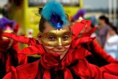 karnevalflickamaskering Royaltyfri Bild