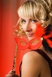 karnevalflickamaskering Fotografering för Bildbyråer
